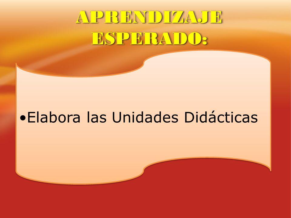 Elabora las Unidades Didácticas APRENDIZAJE ESPERADO: