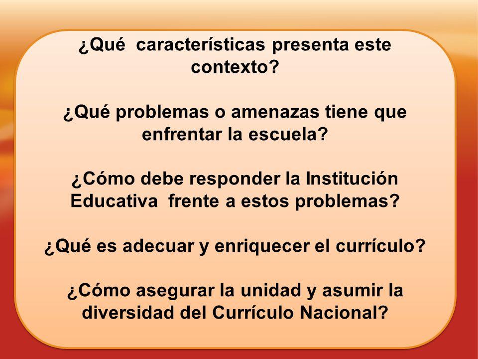 ¿Qué características presenta este contexto? ¿Qué problemas o amenazas tiene que enfrentar la escuela? ¿Cómo debe responder la Institución Educativa f