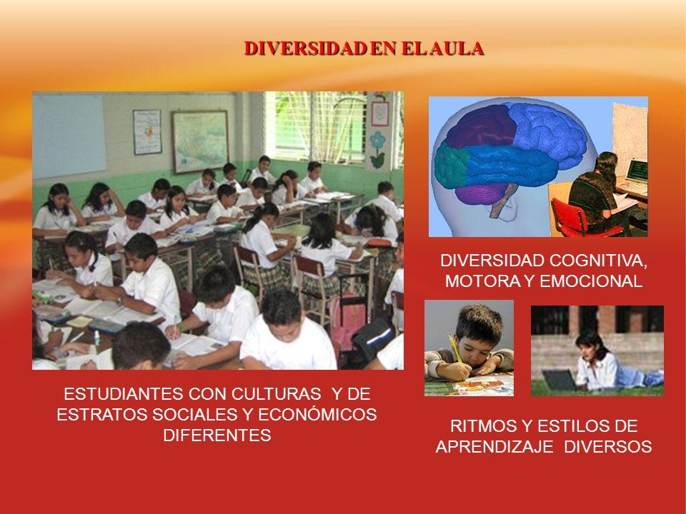 DIVERSIDAD EN EL AULA DIVERSIDAD COGNITIVA, MOTORA Y EMOCIONAL ESTUDIANTES CON CULTURAS Y DE ESTRATOS SOCIALES Y ECONÓMICOS DIFERENTES RITMOS Y ESTILO