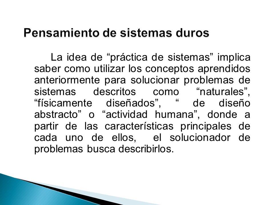 La idea de práctica de sistemas implica saber como utilizar los conceptos aprendidos anteriormente para solucionar problemas de sistemas descritos com