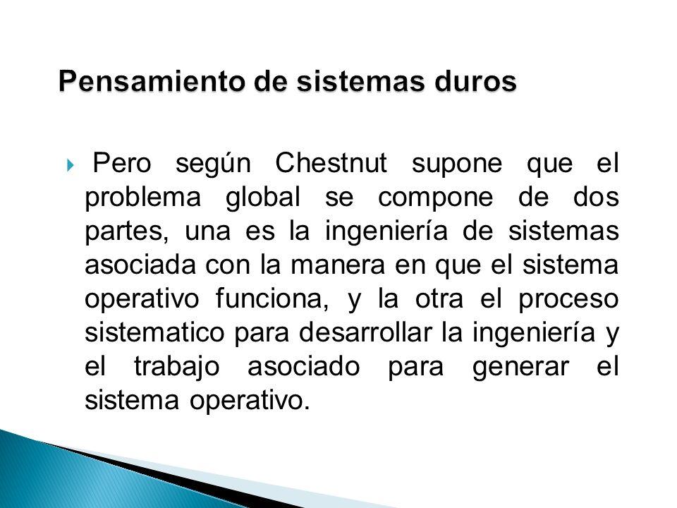 Pero según Chestnut supone que el problema global se compone de dos partes, una es la ingeniería de sistemas asociada con la manera en que el sistema