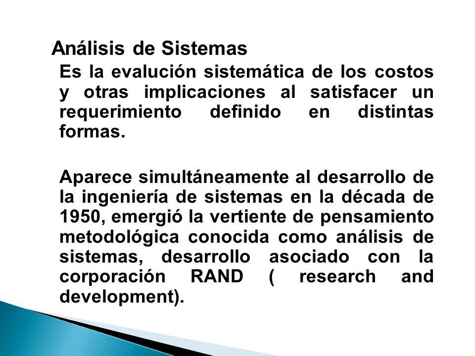 Análisis de Sistemas Es la evalución sistemática de los costos y otras implicaciones al satisfacer un requerimiento definido en distintas formas. Apar