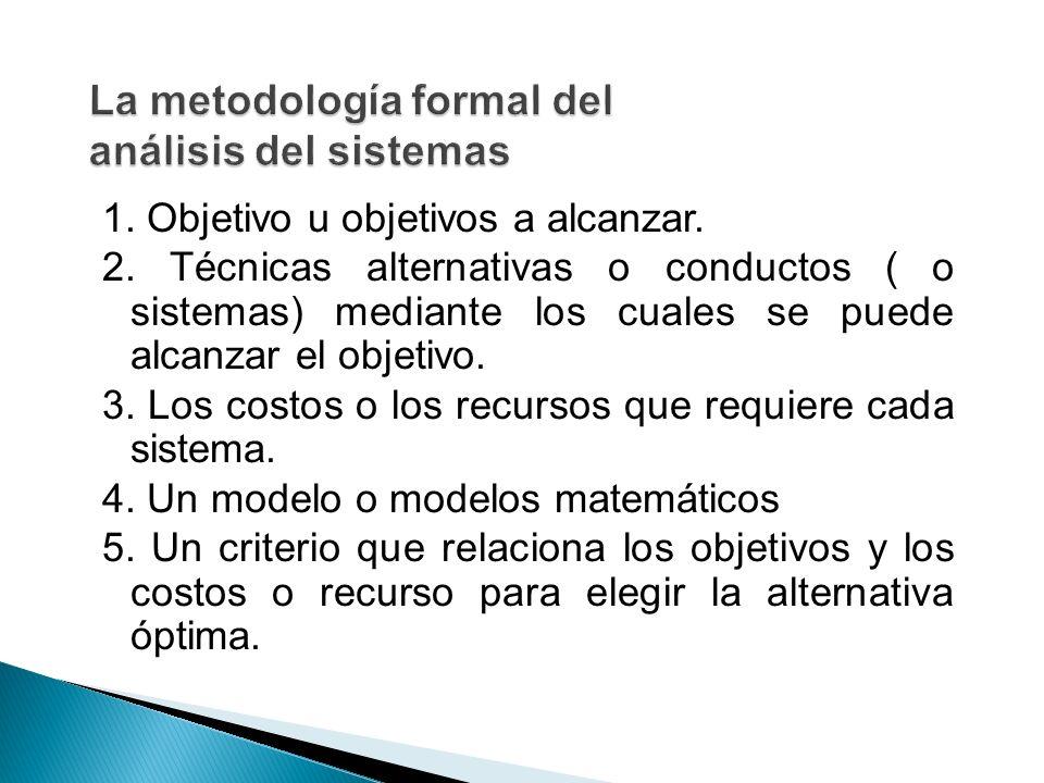 1. Objetivo u objetivos a alcanzar. 2. Técnicas alternativas o conductos ( o sistemas) mediante los cuales se puede alcanzar el objetivo. 3. Los costo