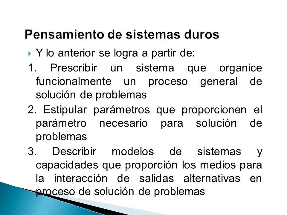 Y lo anterior se logra a partir de: 1. Prescribir un sistema que organice funcionalmente un proceso general de solución de problemas 2. Estipular pará