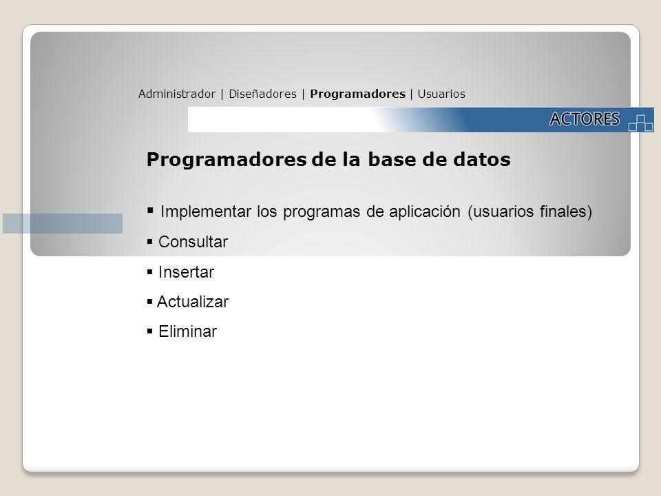 Administrador | Diseñadores | Programadores | Usuarios Programadores de la base de datos Implementar los programas de aplicación (usuarios finales) Co