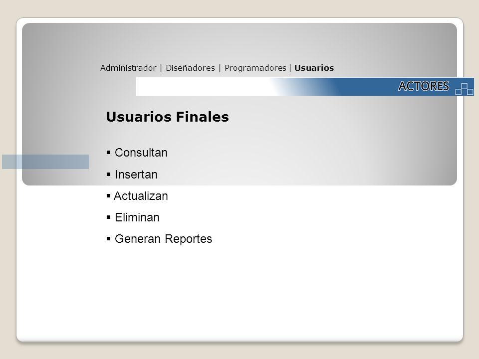 Administrador | Diseñadores | Programadores | Usuarios Usuarios Finales Consultan Insertan Actualizan Eliminan Generan Reportes