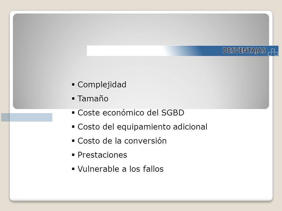 Complejidad Tamaño Coste económico del SGBD Costo del equipamiento adicional Costo de la conversión Prestaciones Vulnerable a los fallos