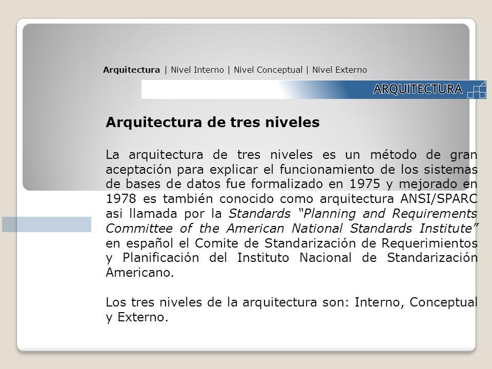 Arquitectura de tres niveles La arquitectura de tres niveles es un método de gran aceptación para explicar el funcionamiento de los sistemas de bases