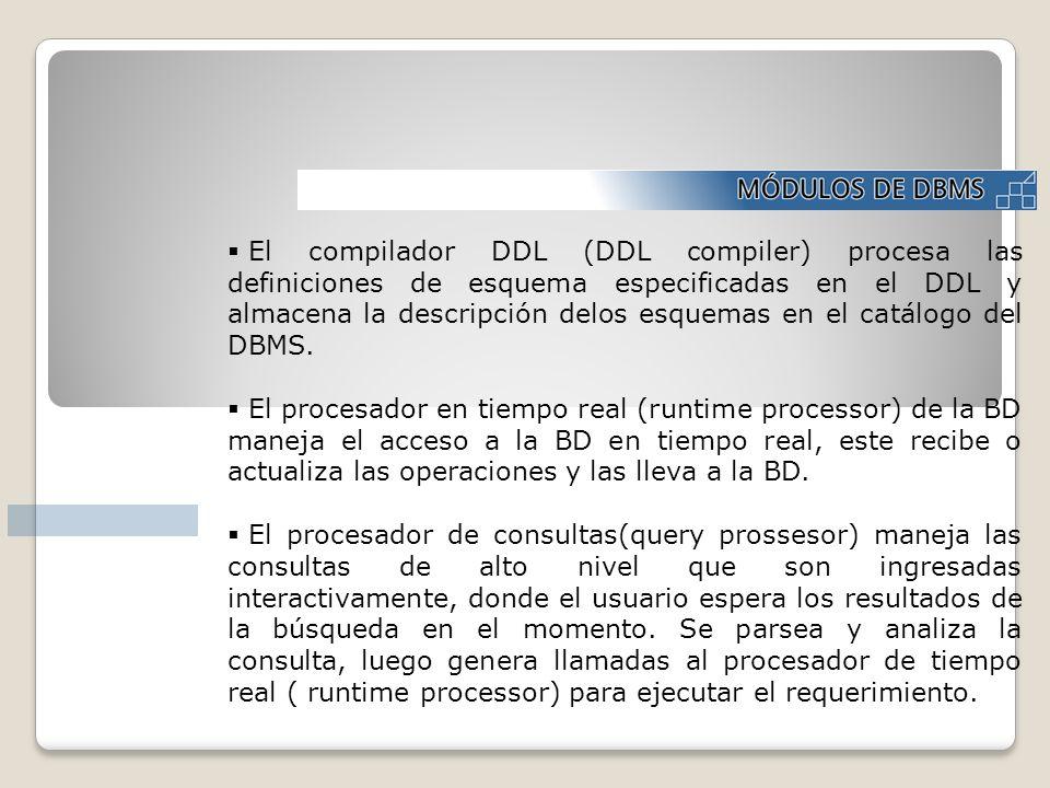 El compilador DDL (DDL compiler) procesa las definiciones de esquema especificadas en el DDL y almacena la descripción delos esquemas en el catálogo d