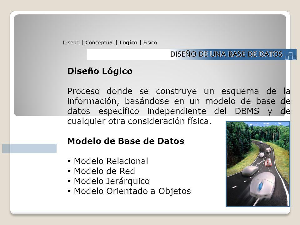 Diseño | Conceptual | Lógico | Físico Diseño Lógico Proceso donde se construye un esquema de la información, basándose en un modelo de base de datos e