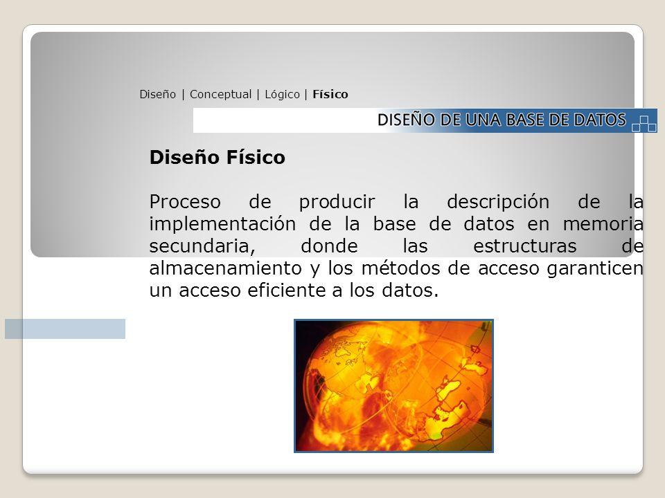 Diseño | Conceptual | Lógico | Físico Diseño Físico Proceso de producir la descripción de la implementación de la base de datos en memoria secundaria,