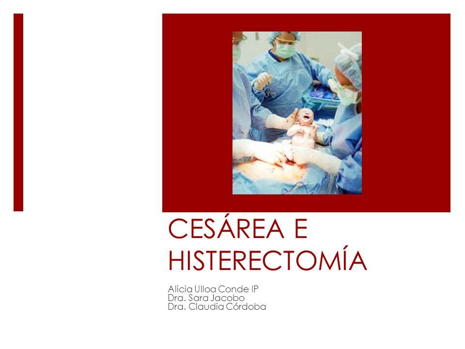 CESÁREA E HISTERECTOMÍA Alicia Ulloa Conde IP Dra. Sara Jacobo Dra. Claudia Córdoba
