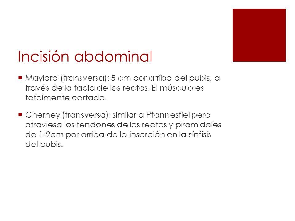 Incisión abdominal Maylard (transversa): 5 cm por arriba del pubis, a través de la facia de los rectos. El músculo es totalmente cortado. Cherney (tra