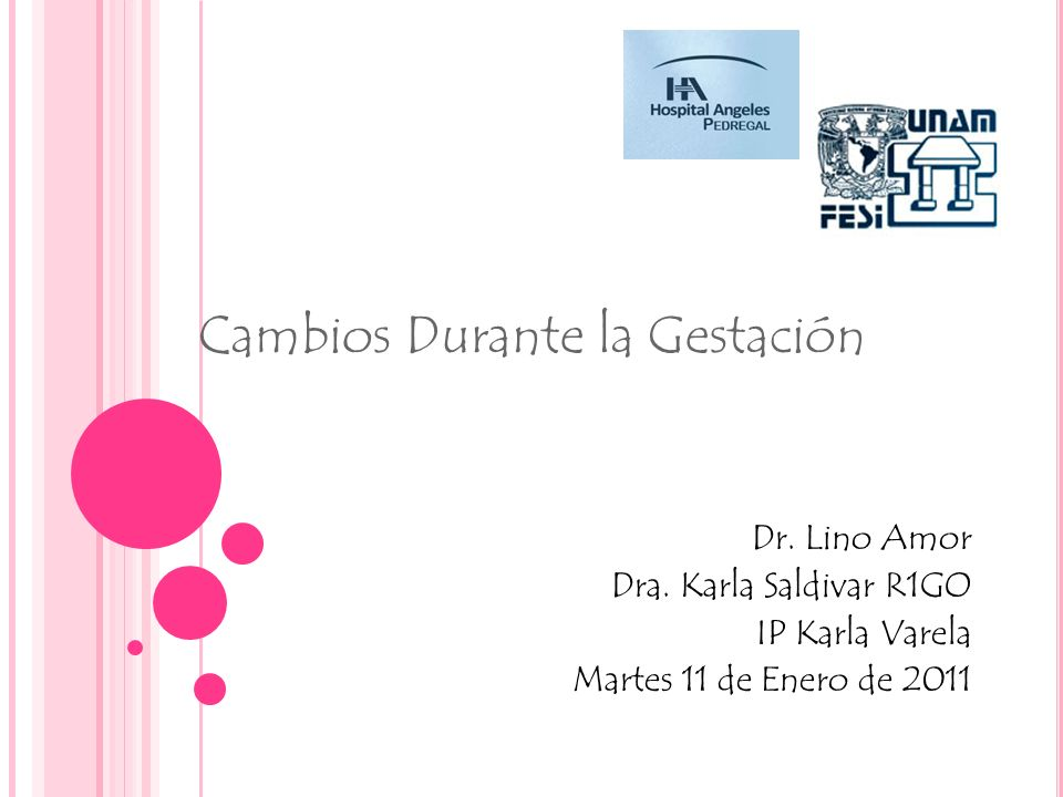 Cambios Durante la Gestación Dr. Lino Amor Dra. Karla Saldivar R1GO IP Karla Varela Martes 11 de Enero de 2011