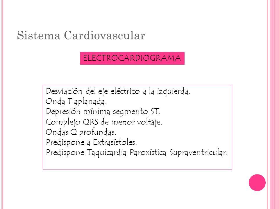Sistema Cardiovascular ELECTROCARDIOGRAMA Desviación del eje eléctrico a la izquierda. Onda T aplanada. Depresión mínima segmento ST. Complejo QRS de