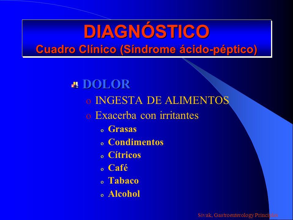 DIAGNÓSTICO Cuadro Clínico (Síndrome ácido-péptico) DOLOR o INGESTA DE ALIMENTOS o Exacerba con irritantes o Grasas o Condimentos o Cítricos o Café o
