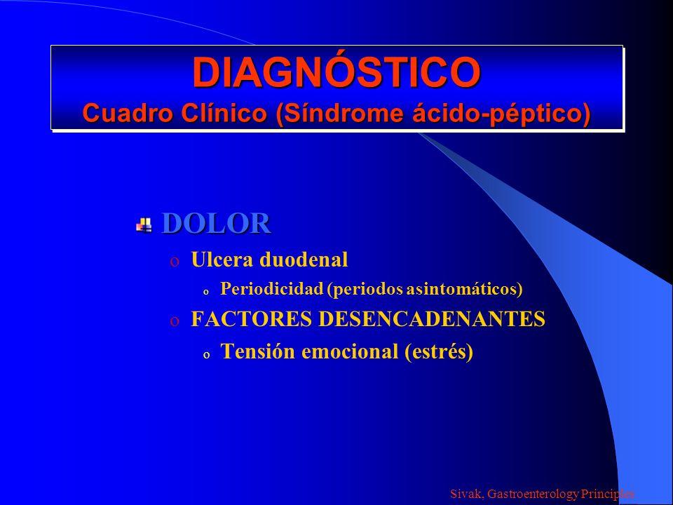 DIAGNÓSTICO Cuadro Clínico (Síndrome ácido-péptico) DOLOR o Ulcera duodenal o Periodicidad (periodos asintomáticos) o FACTORES DESENCADENANTES o Tensi
