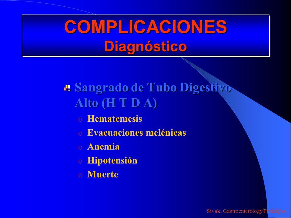 COMPLICACIONES Diagnóstico Sangrado de Tubo Digestivo Alto (H T D A) o Hematemesis o Evacuaciones melénicas o Anemia o Hipotensión o Muerte Sivak, Gas
