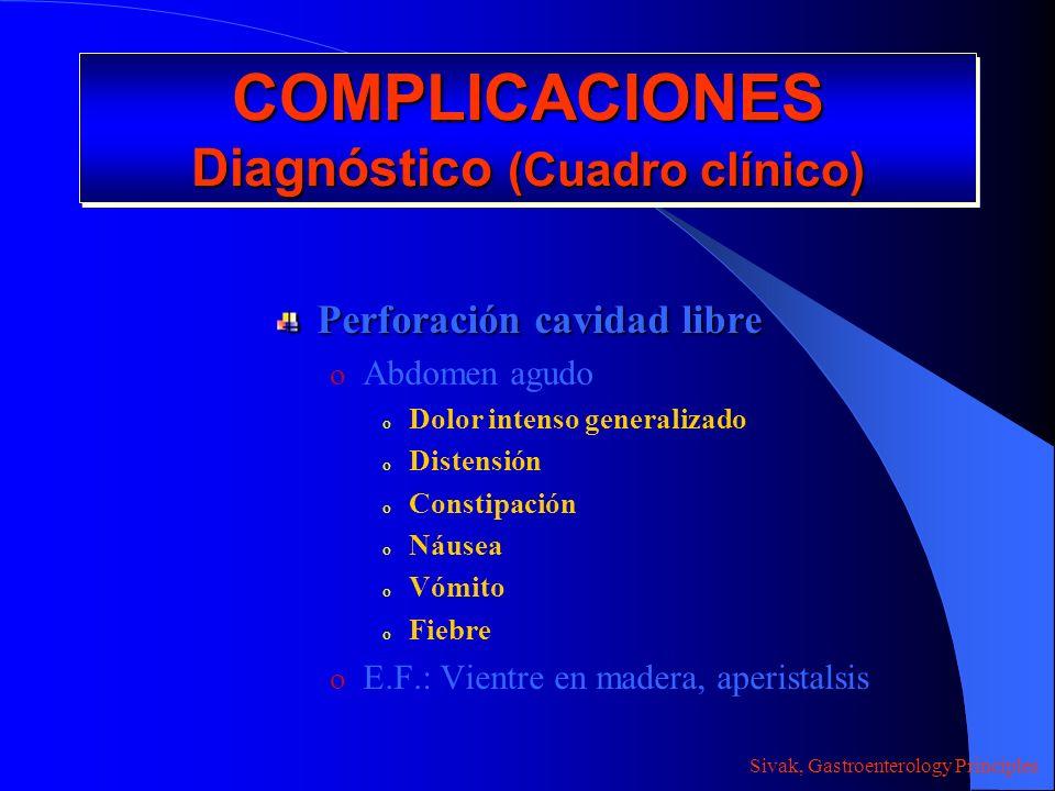 COMPLICACIONES Diagnóstico (Cuadro clínico) Perforación cavidad libre o Abdomen agudo o Dolor intenso generalizado o Distensión o Constipación o Náuse