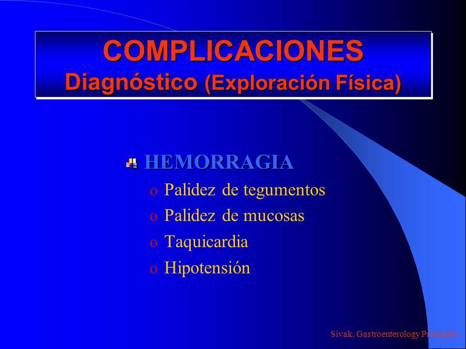 COMPLICACIONES Diagnóstico (Exploración Física) HEMORRAGIA o Palidez de tegumentos o Palidez de mucosas o Taquicardia o Hipotensión Sivak, Gastroenter
