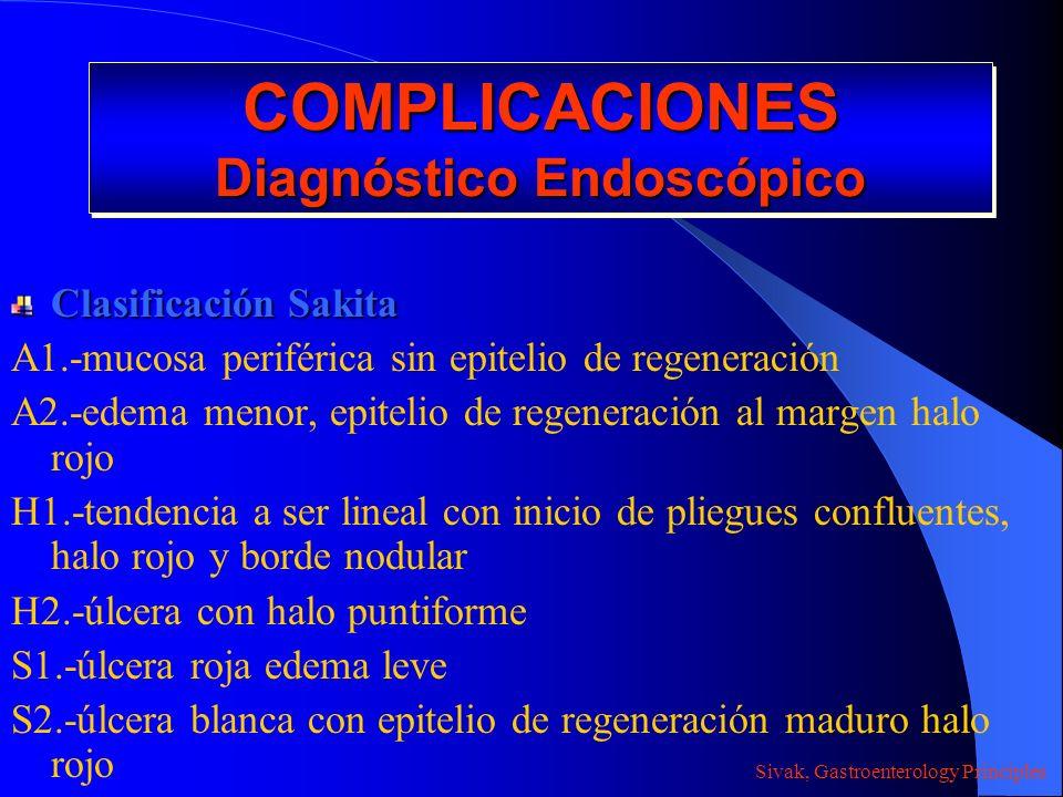 COMPLICACIONES Diagnóstico Endoscópico Clasificación Sakita A1.-mucosa periférica sin epitelio de regeneración A2.-edema menor, epitelio de regeneraci