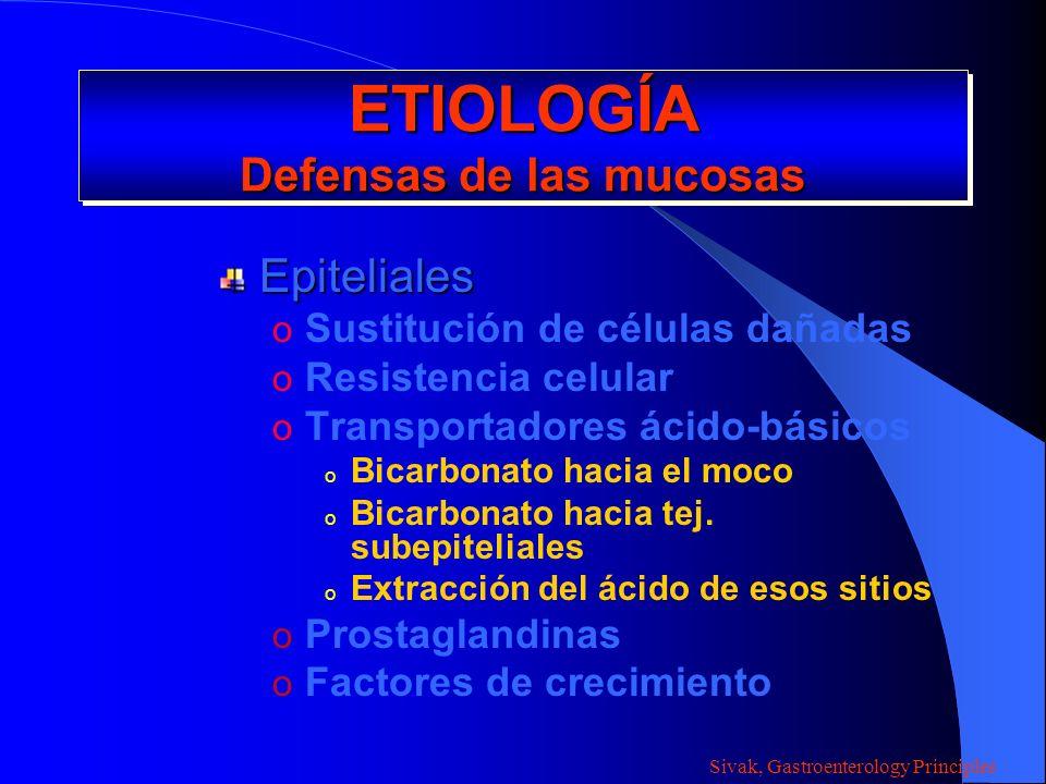 ETIOLOGÍA Defensas de las mucosas Subepiteliales o Flujo sanguíneo por la mucosa o Nutrientes o Bicarbonato o Adherencia de leucocitos o Extravasación de leucocitos Sivak, Gastroenterology Principles