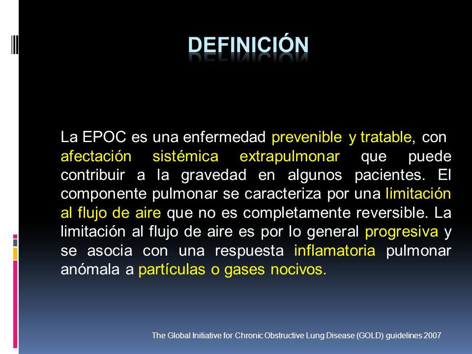La EPOC es una enfermedad prevenible y tratable, con afectación sistémica extrapulmonar que puede contribuir a la gravedad en algunos pacientes. El co