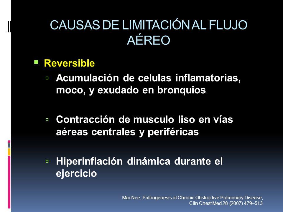 CAUSAS DE LIMITACIÓN AL FLUJO AÉREO Reversible Acumulación de celulas inflamatorias, moco, y exudado en bronquios Contracción de musculo liso en vías