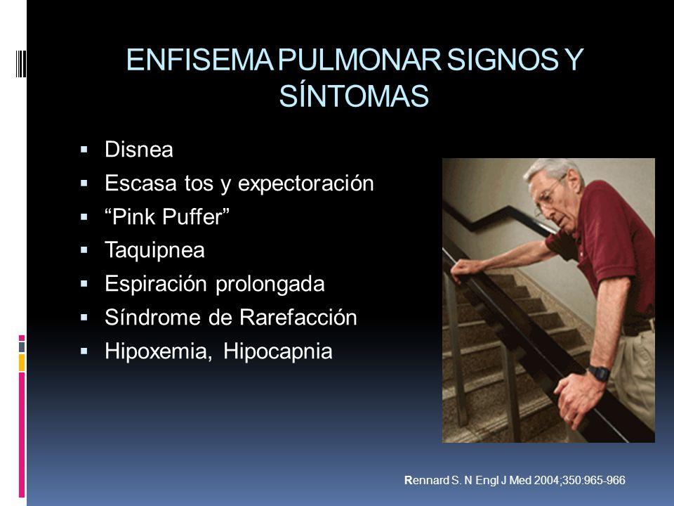 ENFISEMA PULMONAR SIGNOS Y SÍNTOMAS Disnea Escasa tos y expectoración Pink Puffer Taquipnea Espiración prolongada Síndrome de Rarefacción Hipoxemia, H