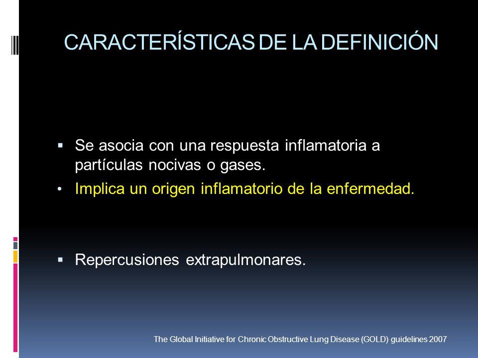 CARACTERÍSTICAS DE LA DEFINICIÓN Se asocia con una respuesta inflamatoria a partículas nocivas o gases. Implica un origen inflamatorio de la enfermeda