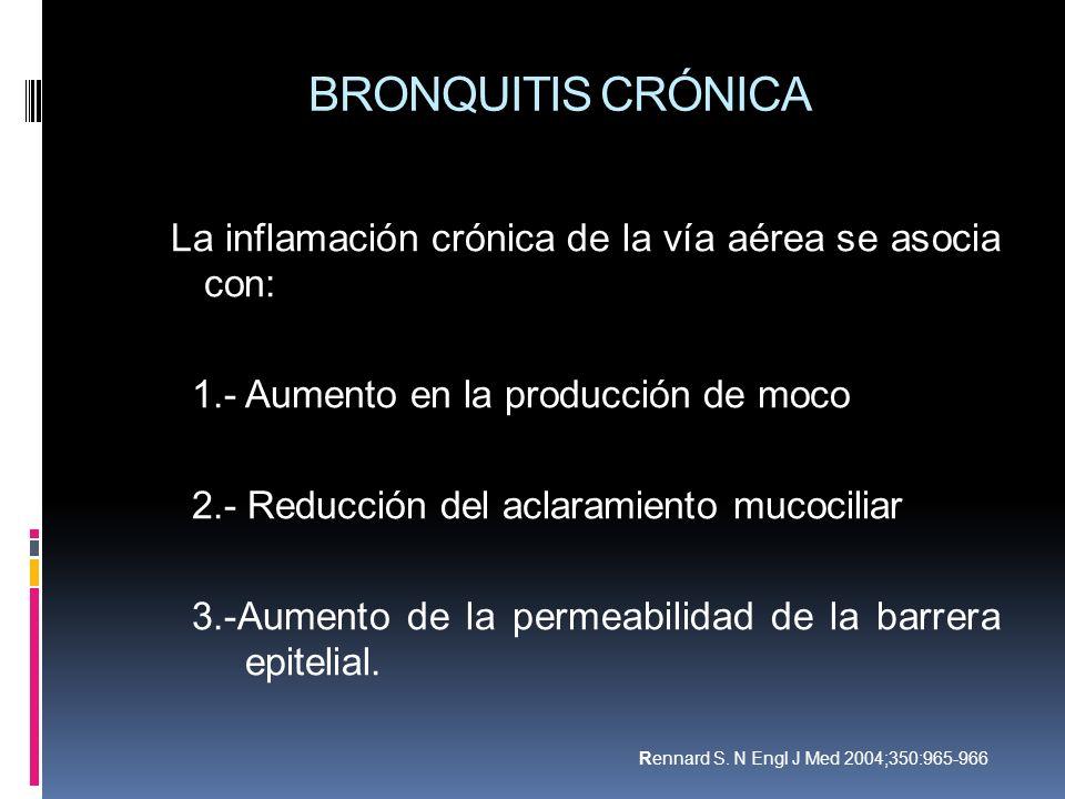 BRONQUITIS CRÓNICA La inflamación crónica de la vía aérea se asocia con: 1.- Aumento en la producción de moco 2.- Reducción del aclaramiento mucocilia