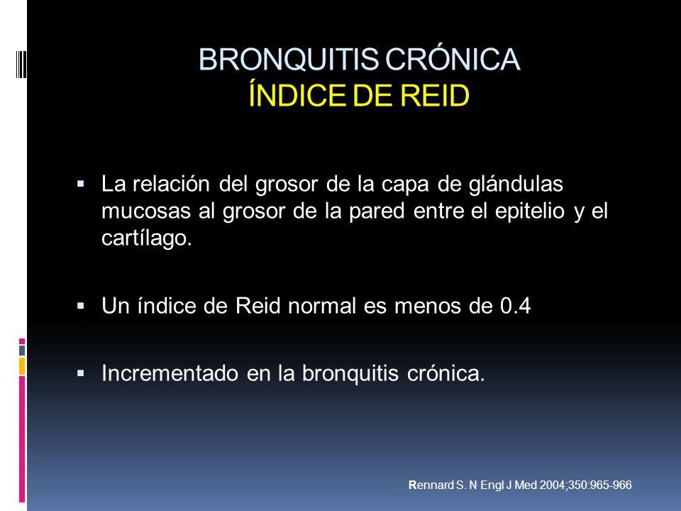 BRONQUITIS CRÓNICA ÍNDICE DE REID La relación del grosor de la capa de glándulas mucosas al grosor de la pared entre el epitelio y el cartílago. Un ín