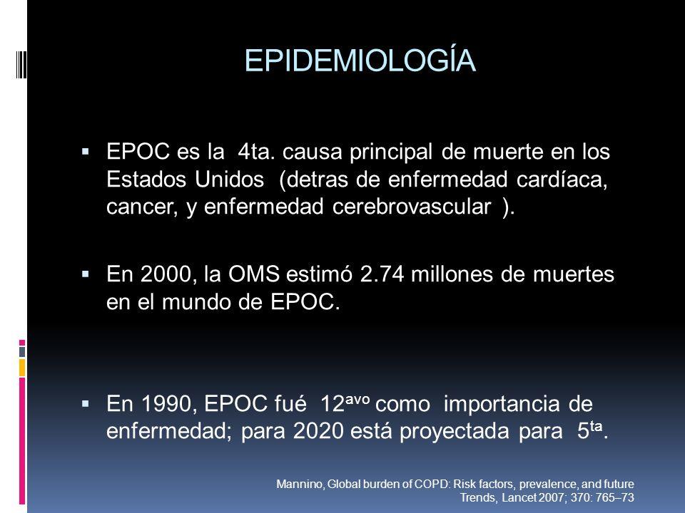 EPIDEMIOLOGÍA EPOC es la 4ta. causa principal de muerte en los Estados Unidos (detras de enfermedad cardíaca, cancer, y enfermedad cerebrovascular ).
