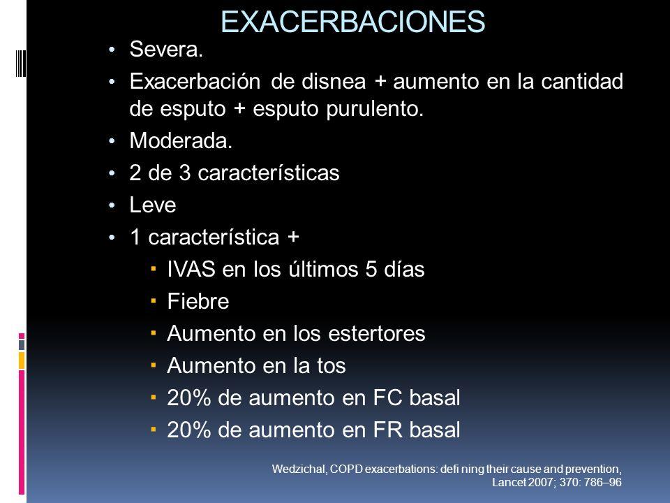 EXACERBACIONES Severa. Exacerbación de disnea + aumento en la cantidad de esputo + esputo purulento. Moderada. 2 de 3 características Leve 1 caracterí