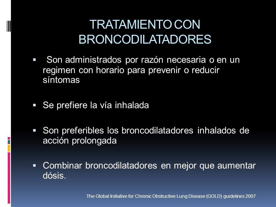 TRATAMIENTO CON BRONCODILATADORES Son administrados por razón necesaria o en un regimen con horario para prevenir o reducir síntomas Se prefiere la ví