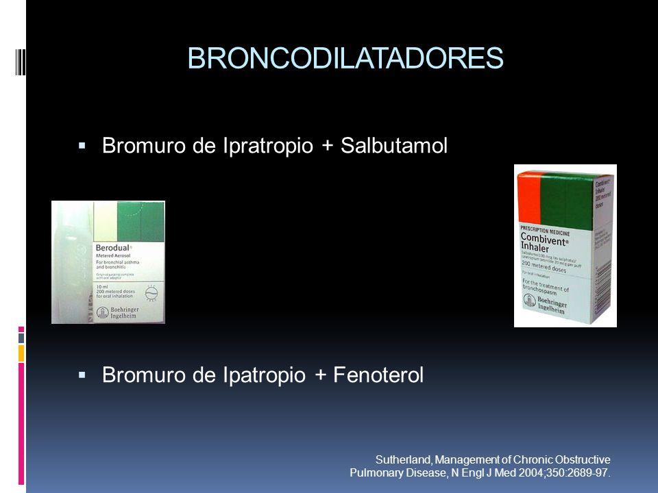BRONCODILATADORES Bromuro de Ipratropio + Salbutamol Bromuro de Ipatropio + Fenoterol Sutherland, Management of Chronic Obstructive Pulmonary Disease,