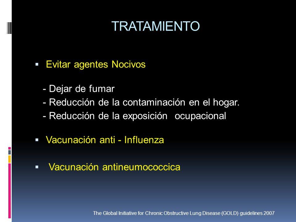 TRATAMIENTO Evitar agentes Nocivos - Dejar de fumar - Reducción de la contaminación en el hogar. - Reducción de la exposición ocupacional Vacunación a