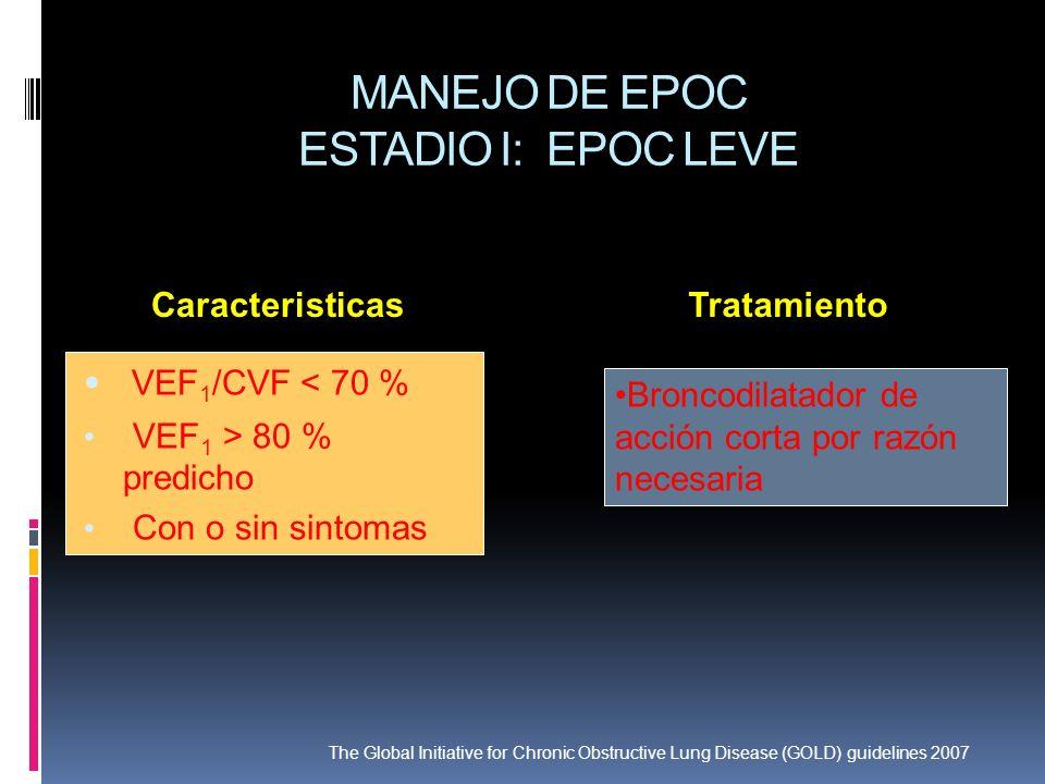 MANEJO DE EPOC ESTADIO I: EPOC LEVE VEF 1 /CVF < 70 % VEF 1 > 80 % predicho Con o sin sintomas Broncodilatador de acción corta por razón necesaria Car