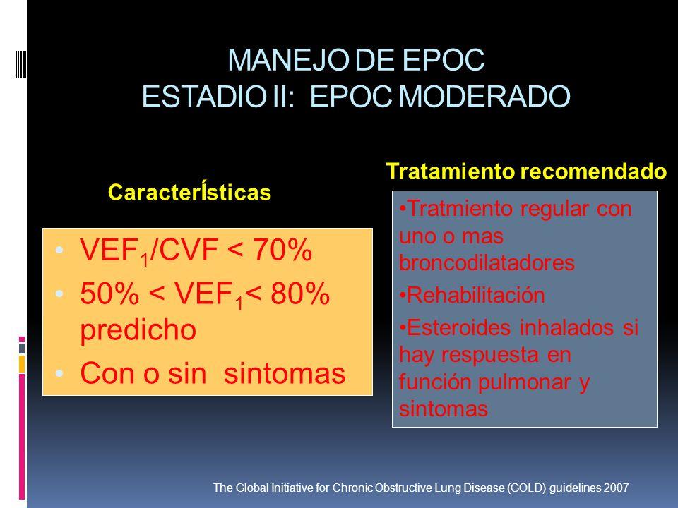 MANEJO DE EPOC ESTADIO II: EPOC MODERADO VEF 1 /CVF < 70% 50% < VEF 1 < 80% predicho Con o sin sintomas Tratmiento regular con uno o mas broncodilatad