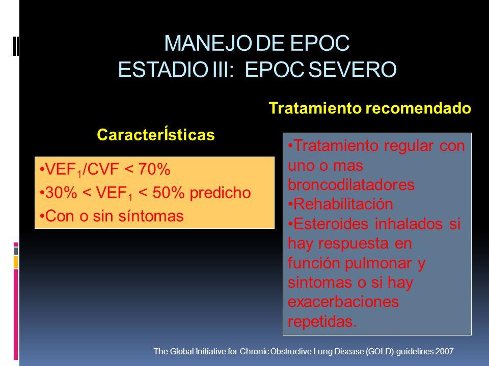 MANEJO DE EPOC ESTADIO III: EPOC SEVERO VEF 1 /CVF < 70% 30% < VEF 1 < 50% predicho Con o sin síntomas Tratamiento regular con uno o mas broncodilatad