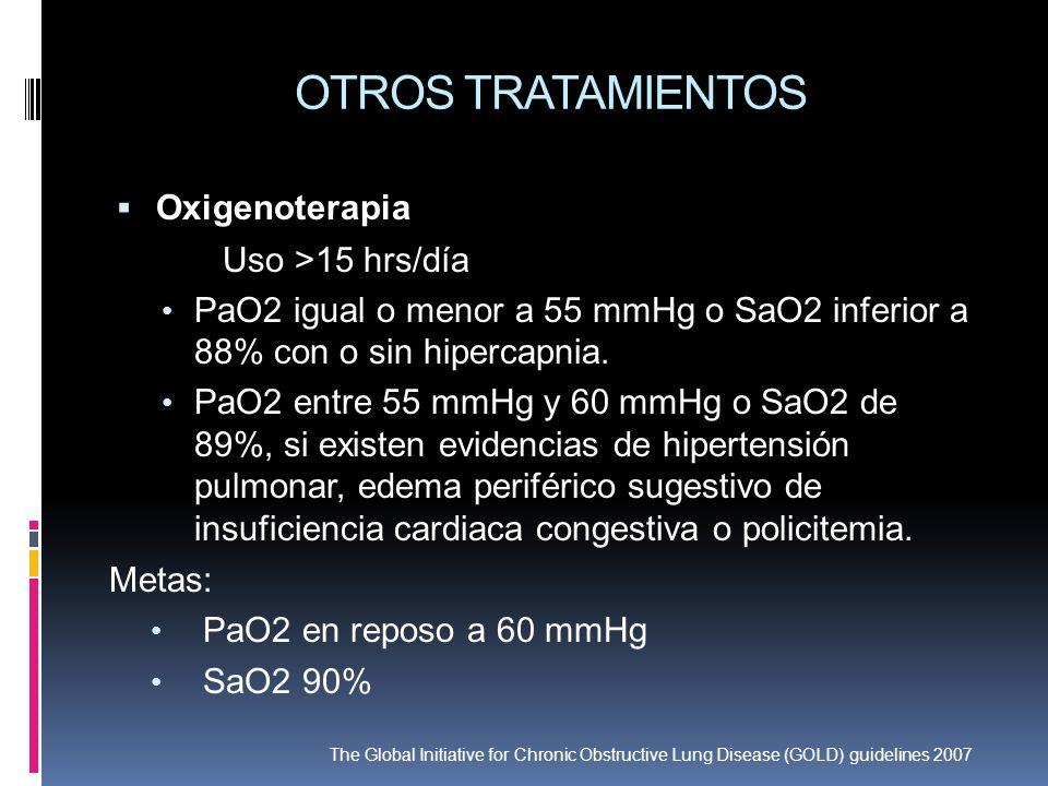 OTROS TRATAMIENTOS Oxigenoterapia Uso >15 hrs/día PaO2 igual o menor a 55 mmHg o SaO2 inferior a 88% con o sin hipercapnia. PaO2 entre 55 mmHg y 60 mm
