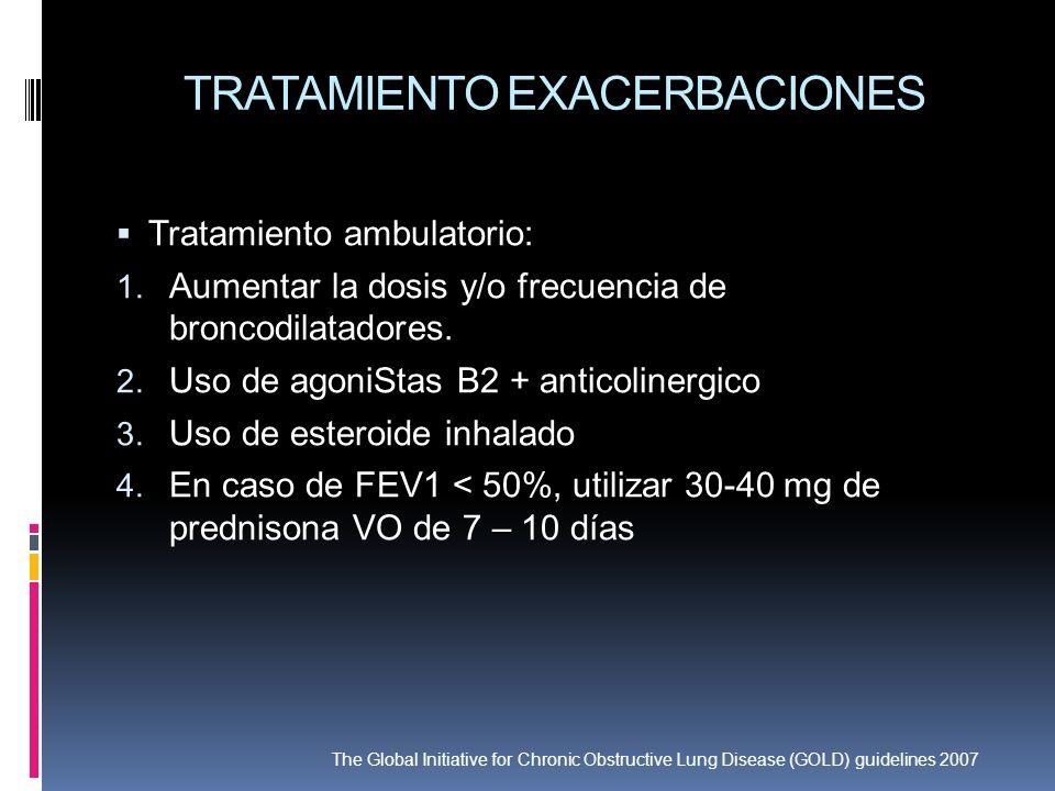 TRATAMIENTO EXACERBACIONES Tratamiento ambulatorio: 1. Aumentar la dosis y/o frecuencia de broncodilatadores. 2. Uso de agoniStas B2 + anticolinergico