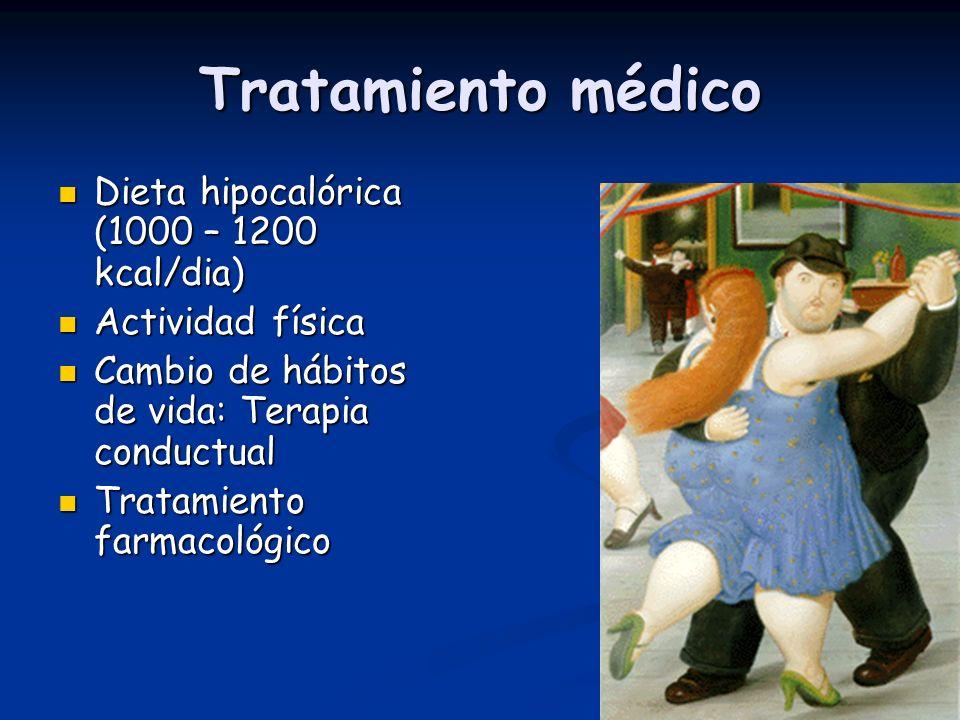 Tratamiento médico Dieta hipocalórica (1000 – 1200 kcal/dia) Dieta hipocalórica (1000 – 1200 kcal/dia) Actividad física Actividad física Cambio de háb
