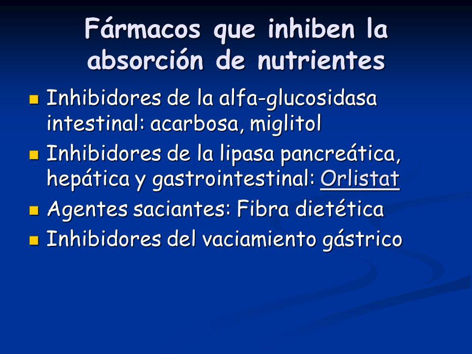 Fármacos que inhiben la absorción de nutrientes Inhibidores de la alfa-glucosidasa intestinal: acarbosa, miglitol Inhibidores de la alfa-glucosidasa i
