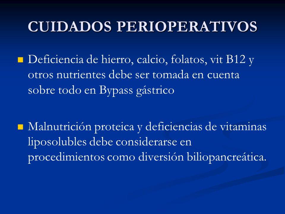 CUIDADOS PERIOPERATIVOS Deficiencia de hierro, calcio, folatos, vit B12 y otros nutrientes debe ser tomada en cuenta sobre todo en Bypass gástrico Mal