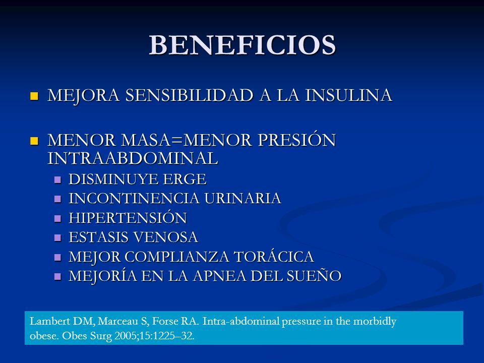 BENEFICIOS MEJORA SENSIBILIDAD A LA INSULINA MEJORA SENSIBILIDAD A LA INSULINA MENOR MASA=MENOR PRESIÓN INTRAABDOMINAL MENOR MASA=MENOR PRESIÓN INTRAA