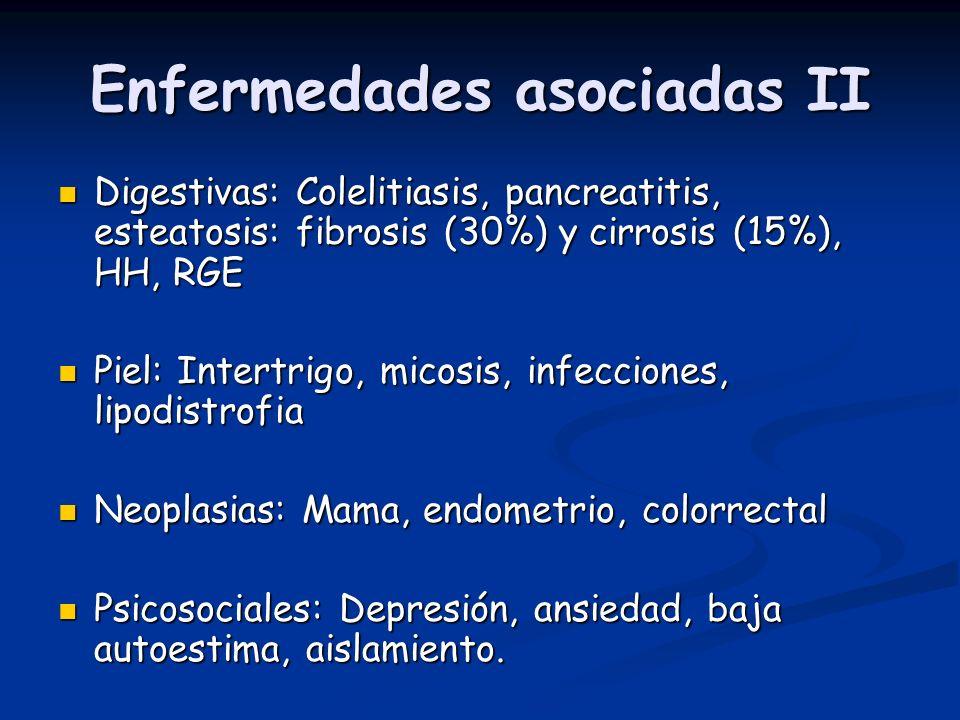 Enfermedades asociadas II Digestivas: Colelitiasis, pancreatitis, esteatosis: fibrosis (30%) y cirrosis (15%), HH, RGE Digestivas: Colelitiasis, pancr