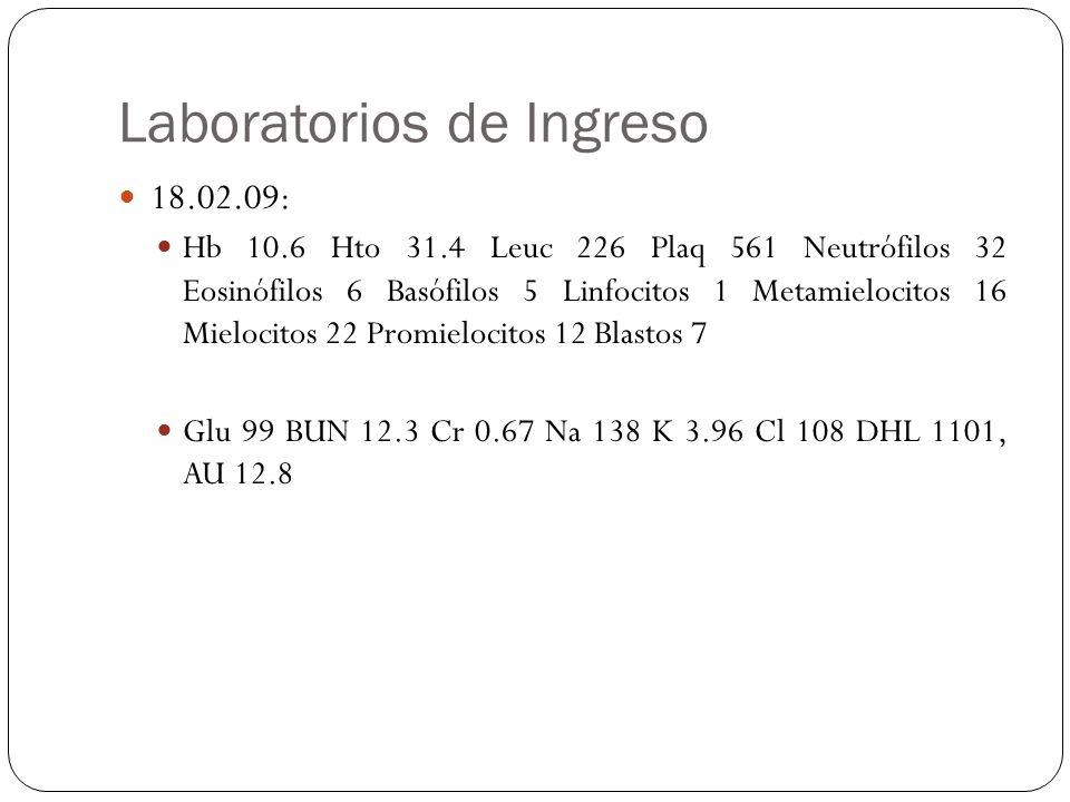 Laboratorios de Ingreso 18.02.09: Hb 10.6 Hto 31.4 Leuc 226 Plaq 561 Neutrófilos 32 Eosinófilos 6 Basófilos 5 Linfocitos 1 Metamielocitos 16 Mielocito