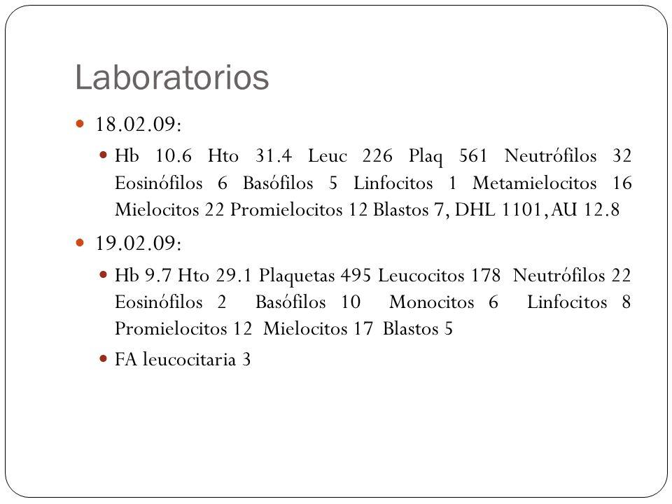 Laboratorios 18.02.09: Hb 10.6 Hto 31.4 Leuc 226 Plaq 561 Neutrófilos 32 Eosinófilos 6 Basófilos 5 Linfocitos 1 Metamielocitos 16 Mielocitos 22 Promie