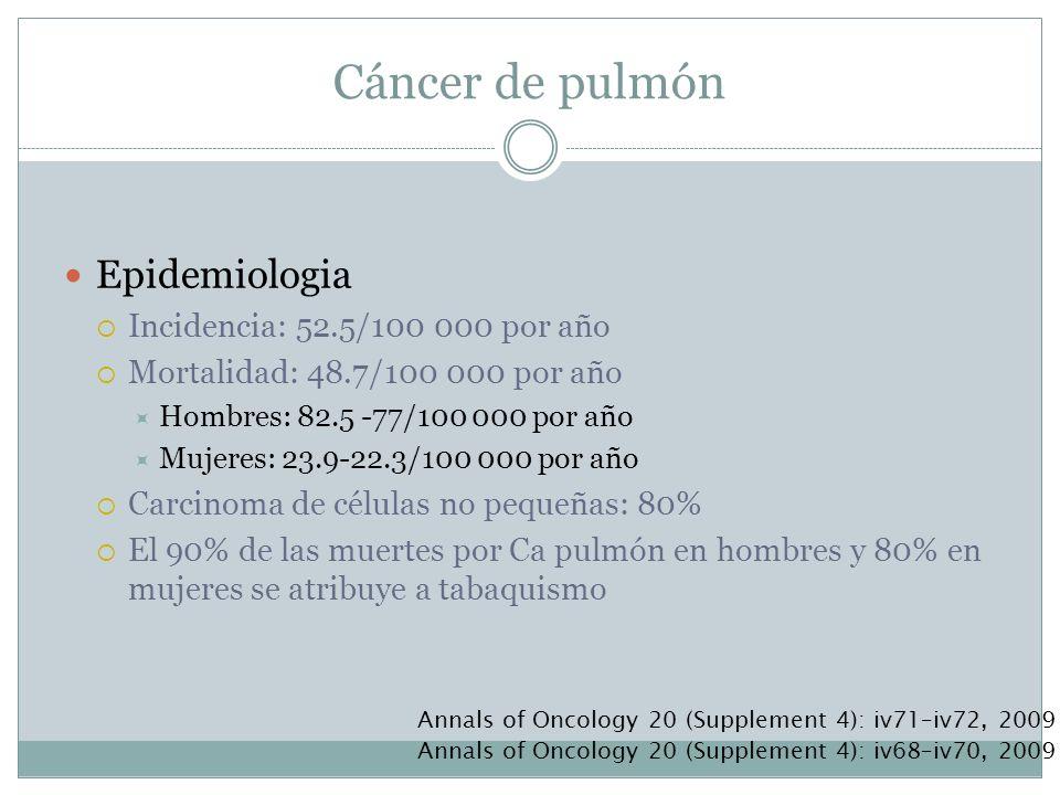 Epidemiologia Incidencia: 52.5/100 000 por año Mortalidad: 48.7/100 000 por año Hombres: 82.5 -77/100 000 por año Mujeres: 23.9-22.3/100 000 por año C